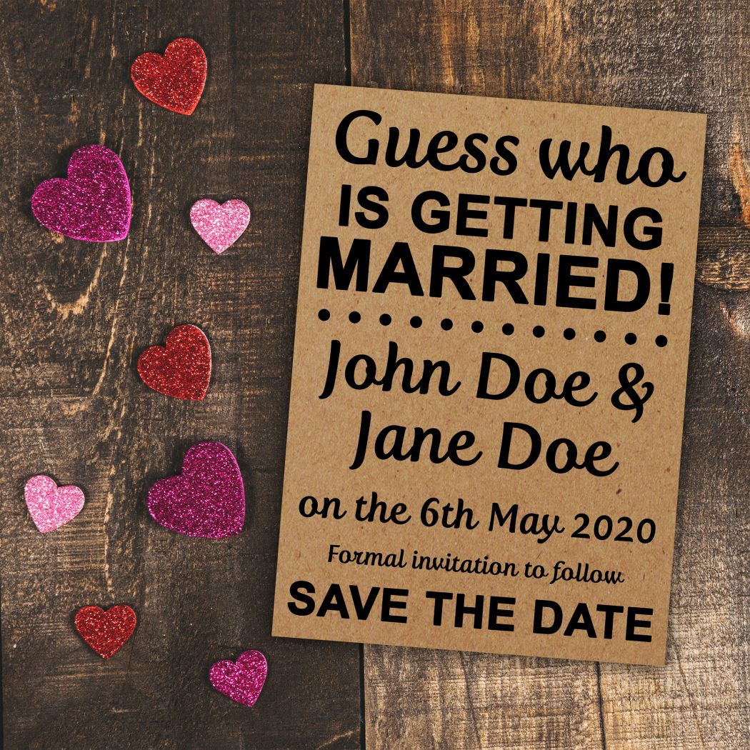Recycled Brown Kraft Guess Who is Getting Married Save the Date Cards | Moments That Unite
