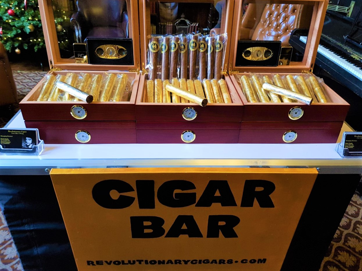 Cigar Bar Stocked with 24ct Gold leaf Cigars